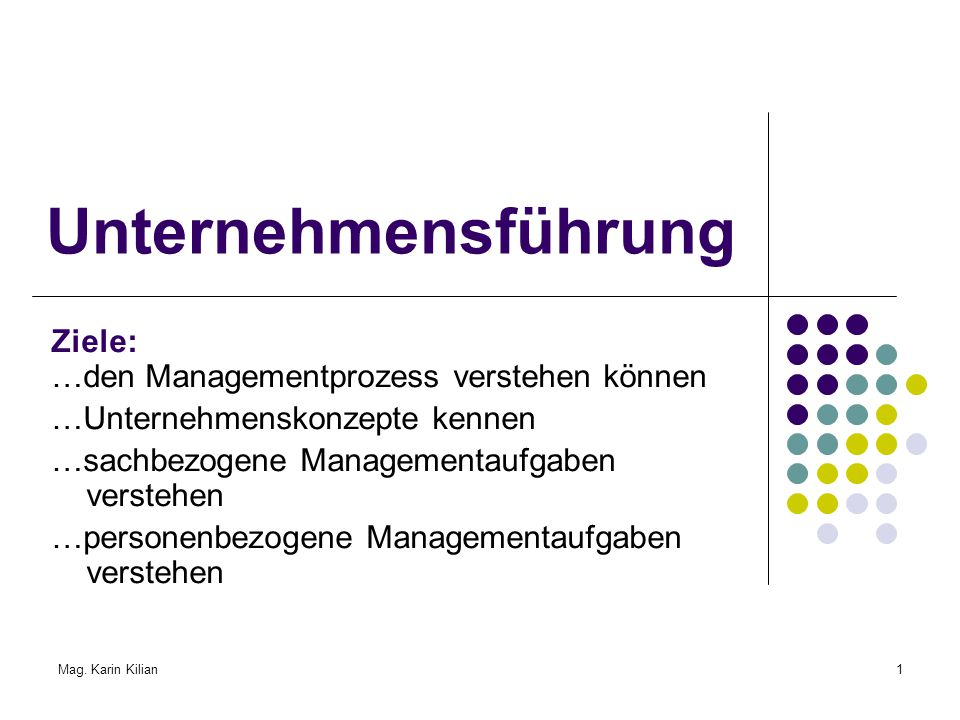 Mag. Karin Kilian1 Unternehmensführung Ziele: …den Managementprozess verstehen können …Unternehmenskonzepte kennen …sachbezogene Managementaufgaben ve