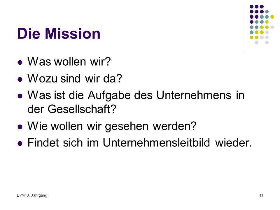 BVW 3.Jahrgang11 Die Mission Was wollen wir. Wozu sind wir da.