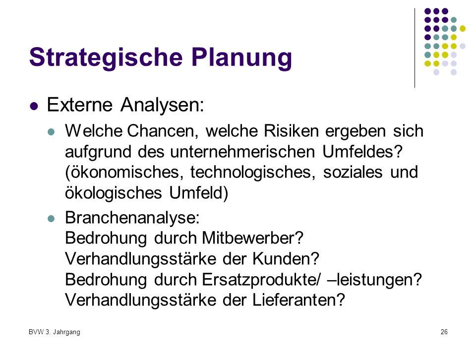 Strategische Planung Externe Analysen: Welche Chancen, welche Risiken ergeben sich aufgrund des unternehmerischen Umfeldes.