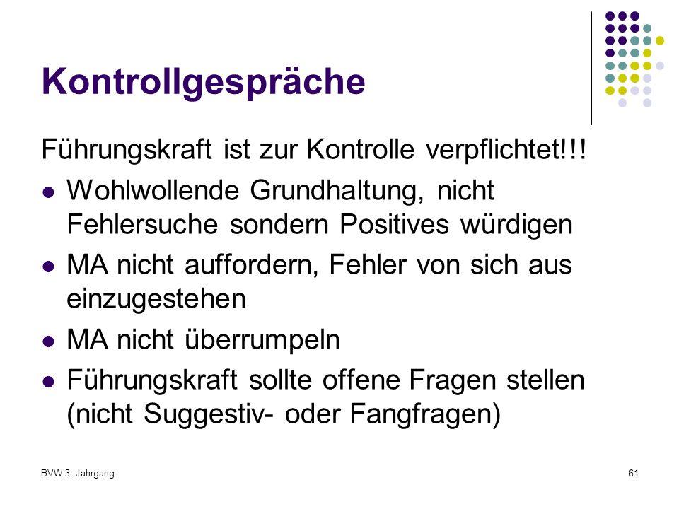 BVW 3.Jahrgang61 Kontrollgespräche Führungskraft ist zur Kontrolle verpflichtet!!.