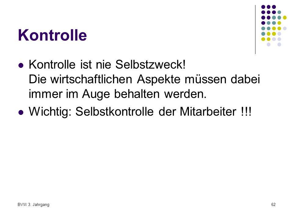 BVW 3.Jahrgang62 Kontrolle Kontrolle ist nie Selbstzweck.