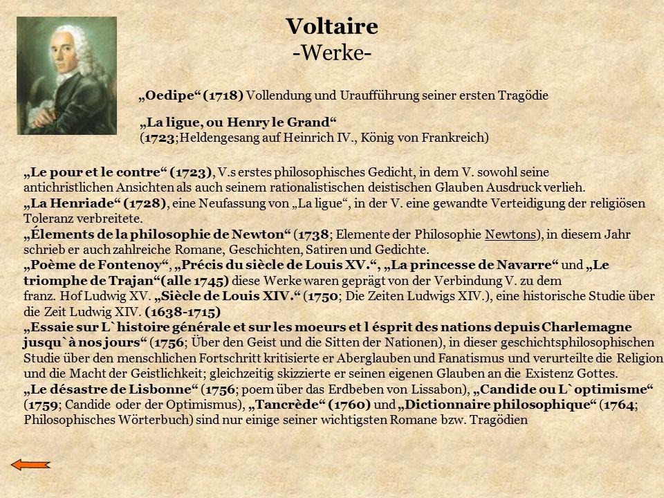 """Voltaire -Werke- """"Le pour et le contre"""" (1723), V.s erstes philosophisches Gedicht, in dem V. sowohl seine antichristlichen Ansichten als auch seinem"""