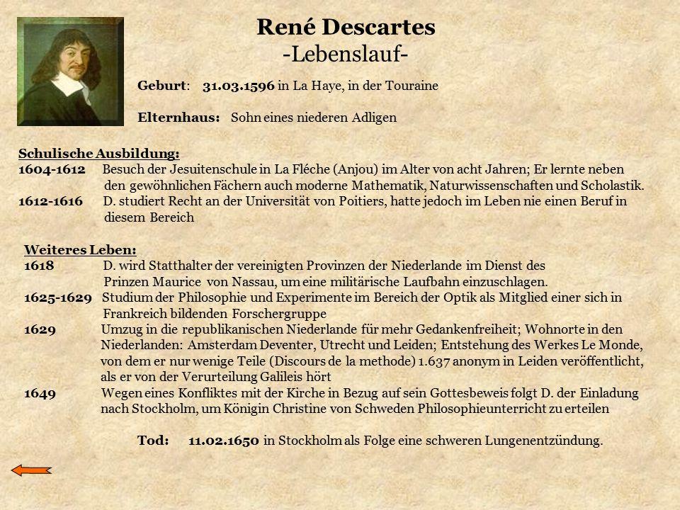 René Descartes -Lebenslauf- Geburt: 31.03.1596 in La Haye, in der Touraine Elternhaus: Sohn eines niederen Adligen Schulische Ausbildung: 1604-1612 Be