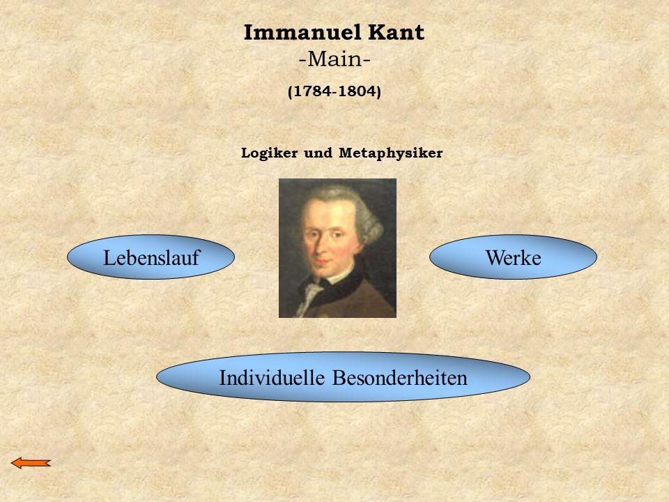Immanuel Kant -Main- LebenslaufWerke Individuelle Besonderheiten (1784-1804) Logiker und Metaphysiker