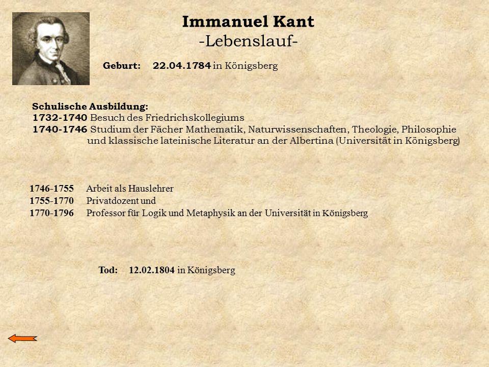 Immanuel Kant -Lebenslauf- Geburt: 22.04.1784 in Königsberg Schulische Ausbildung: 1732-1740 Besuch des Friedrichskollegiums 1740-1746 Studium der Fäc