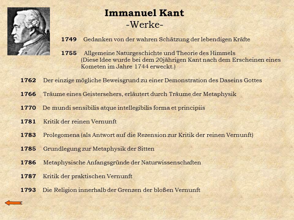 Immanuel Kant -Werke- 1749 Gedanken von der wahren Schätzung der lebendigen Kräfte 1755 Allgemeine Naturgeschichte und Theorie des Himmels (Diese Idee
