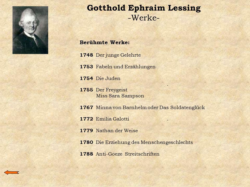 Gotthold Ephraim Lessing -Werke- Berühmte Werke: 1748 Der junge Gelehrte 1753 Fabeln und Erzählungen 1754 Die Juden. 1755 Der Freygeist Miss Sara Samp