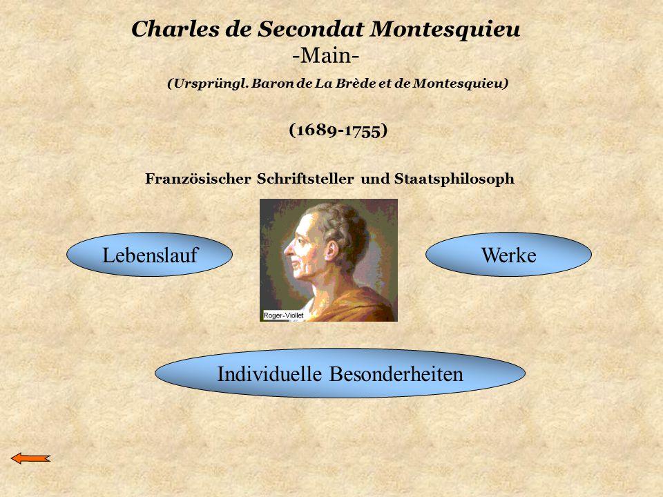 (1689-1755) (Ursprüngl. Baron de La Brède et de Montesquieu) Charles de Secondat Montesquieu -Main- LebenslaufWerke Individuelle Besonderheiten Franzö
