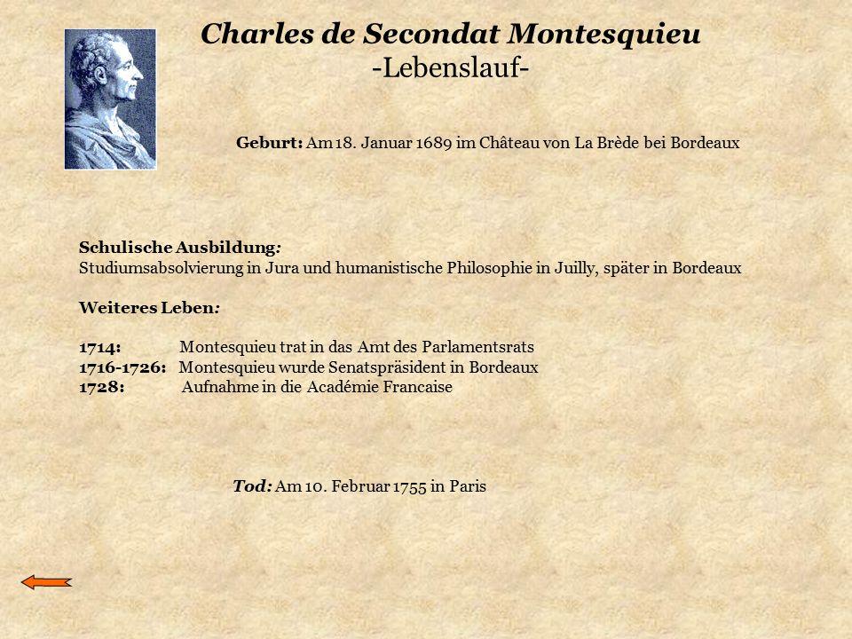 Charles de Secondat Montesquieu -Lebenslauf- Schulische Ausbildung: Studiumsabsolvierung in Jura und humanistische Philosophie in Juilly, später in Bo