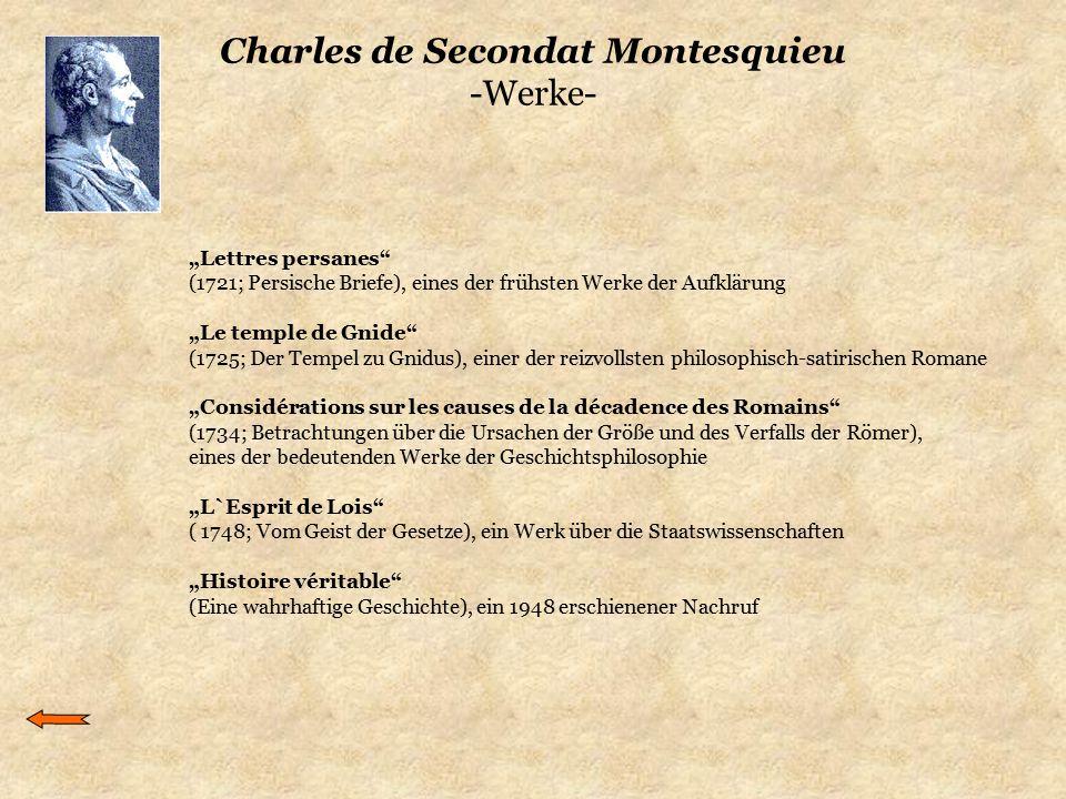 """Charles de Secondat Montesquieu -Werke- """"Lettres persanes"""" (1721; Persische Briefe), eines der frühsten Werke der Aufklärung """"Le temple de Gnide"""" (172"""