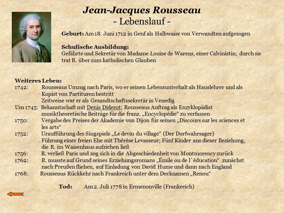 Jean-Jacques Rousseau - Lebenslauf - Weiteres Leben: 1742: Rousseaus Umzug nach Paris, wo er seinen Lebensunterhalt als Hauslehrer und als Kopist von