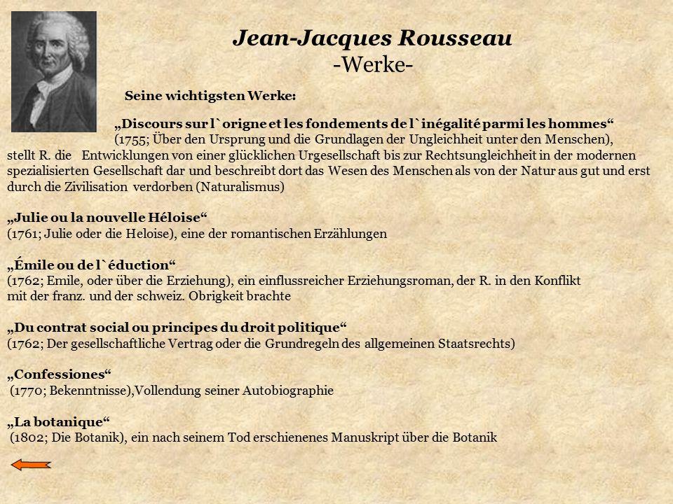 """Jean-Jacques Rousseau -Werke- """"Discours sur l`origne et les fondements de l`inégalité parmi les hommes"""" (1755; Über den Ursprung und die Grundlagen de"""