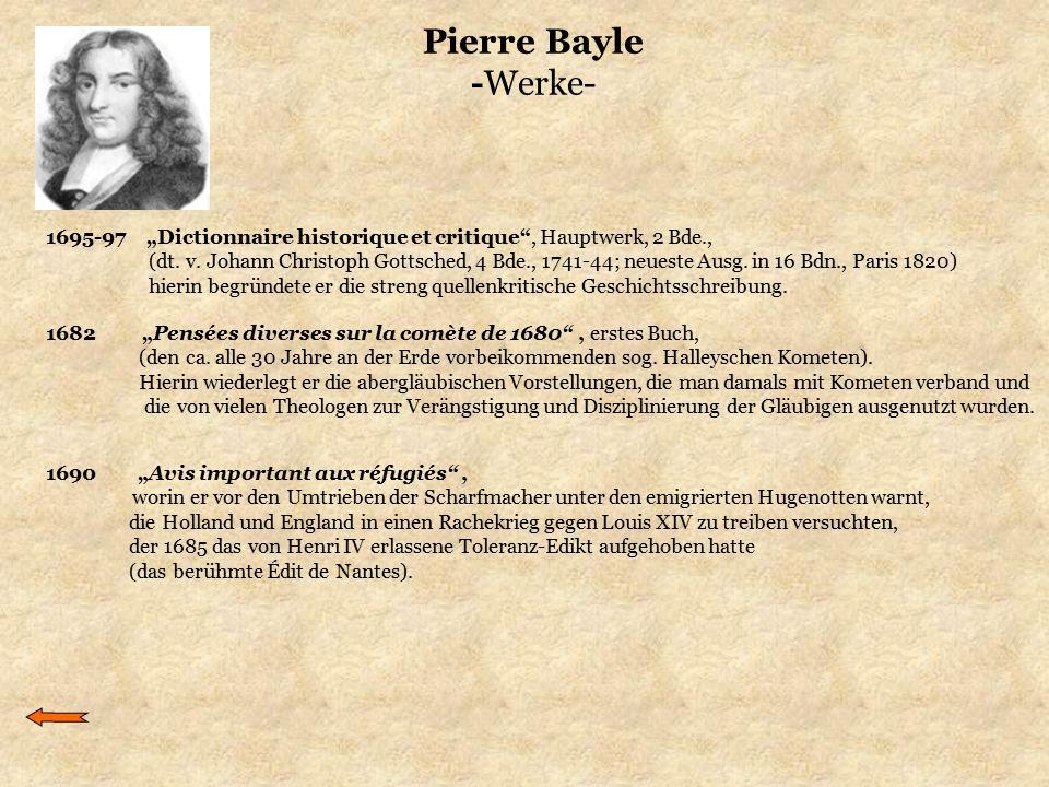 """Pierre Bayle -Werke- 1682 """"Pensées diverses sur la comète de 1680"""", erstes Buch, (den ca. alle 30 Jahre an der Erde vorbeikommenden sog. Halleyschen K"""