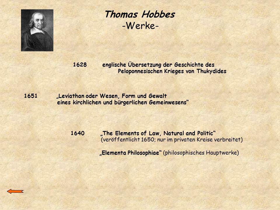 """Thomas Hobbes -Werke- 1628 englische Übersetzung der Geschichte des Peloponnesischen Krieges von Thukydides 1640 """"The Elements of Law, Natural and Pol"""