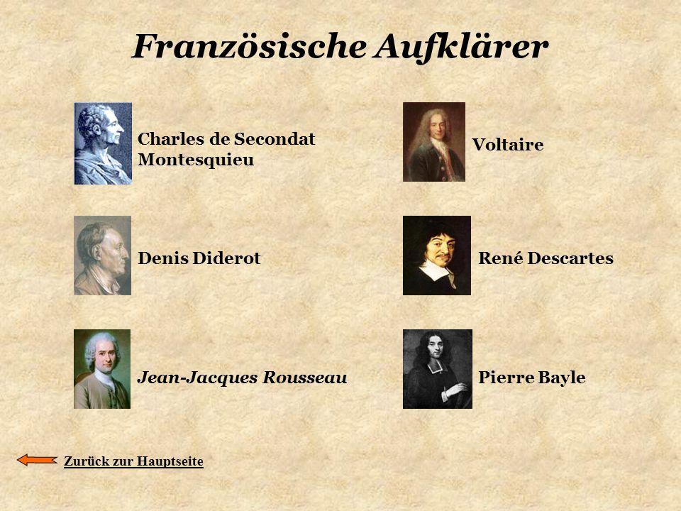 Französische Aufklärer Charles de Secondat Montesquieu Zurück zur Hauptseite Denis Diderot Voltaire René Descartes Jean-Jacques RousseauPierre Bayle