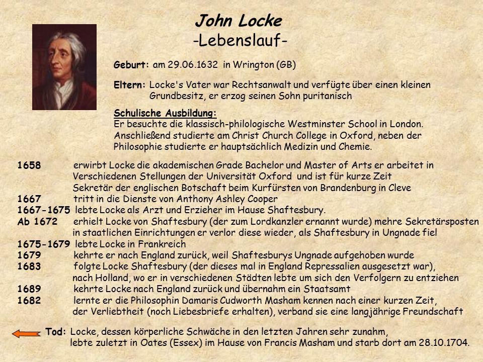 John Locke -Lebenslauf- Geburt: am 29.06.1632 in Wrington (GB) Eltern: Locke's Vater war Rechtsanwalt und verfügte über einen kleinen Grundbesitz, er