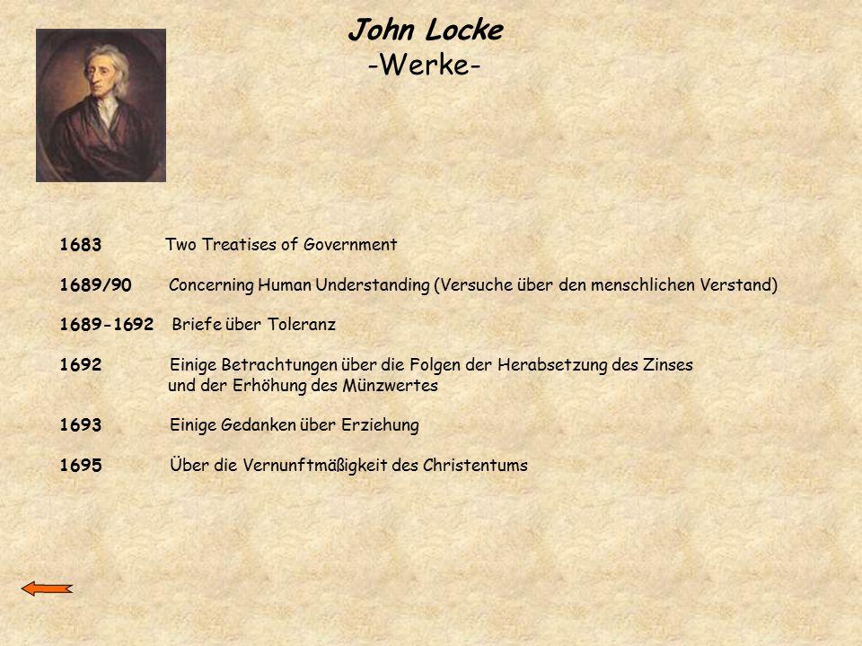 John Locke -Werke- 1683 Two Treatises of Government 1689/90 Concerning Human Understanding (Versuche über den menschlichen Verstand) 1689-1692 Briefe