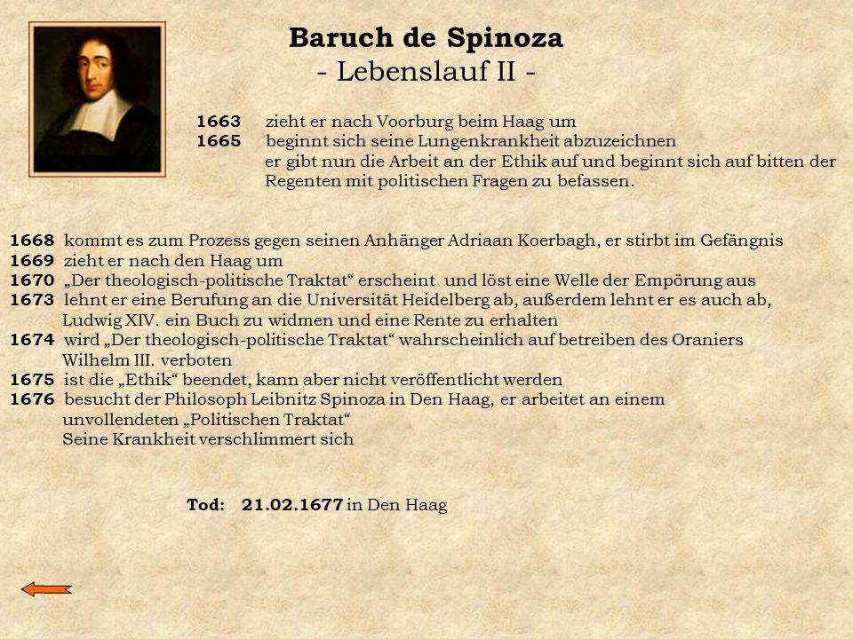 Baruch de Spinoza - Lebenslauf II - 1663 zieht er nach Voorburg beim Haag um 1665 beginnt sich seine Lungenkrankheit abzuzeichnen er gibt nun die Arbe
