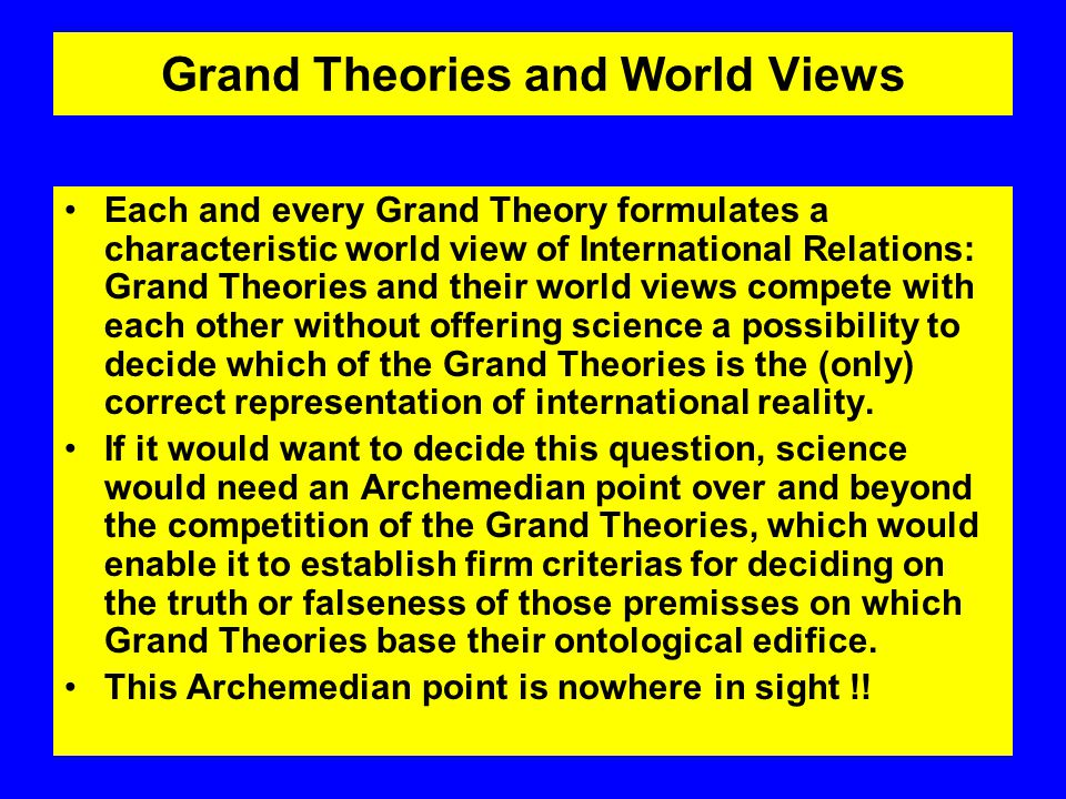 Grand TheoryActorMilieuStructural Principle Realism Nation State World of states as an-archic state of nature Vertical segmentation, unlimited zero- sum game for power, influence, ressources English School or Rationalism World of states as legally constituted society Vertical Segmentation, zero-sum game regulated by norm and agreement IdealismIndividual World society as society of individuals and their associations Universalistic constitution Grand Theories of International Relations