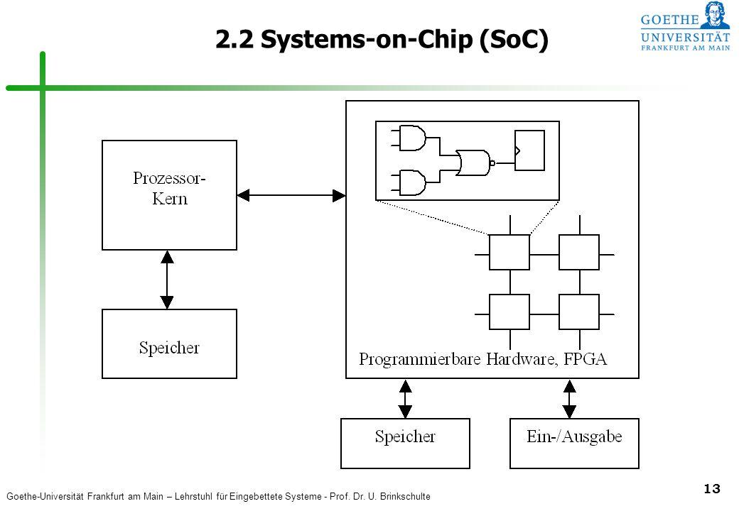 Goethe-Universität Frankfurt am Main – Lehrstuhl für Eingebettete Systeme - Prof. Dr. U. Brinkschulte 13 2.2 Systems-on-Chip (SoC)