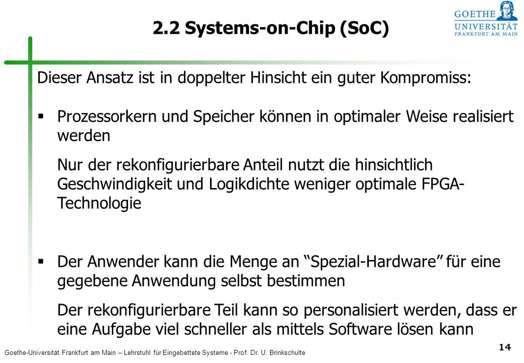 Goethe-Universität Frankfurt am Main – Lehrstuhl für Eingebettete Systeme - Prof. Dr. U. Brinkschulte 14 2.2 Systems-on-Chip (SoC) Dieser Ansatz ist i