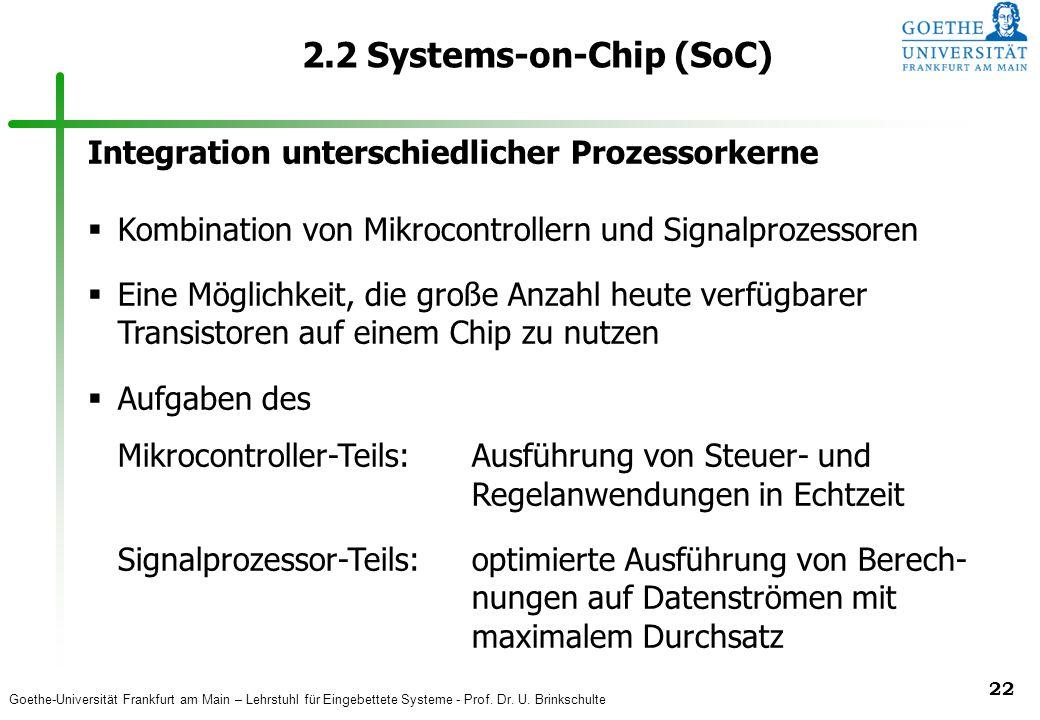 Goethe-Universität Frankfurt am Main – Lehrstuhl für Eingebettete Systeme - Prof. Dr. U. Brinkschulte 22 2.2 Systems-on-Chip (SoC) Integration untersc