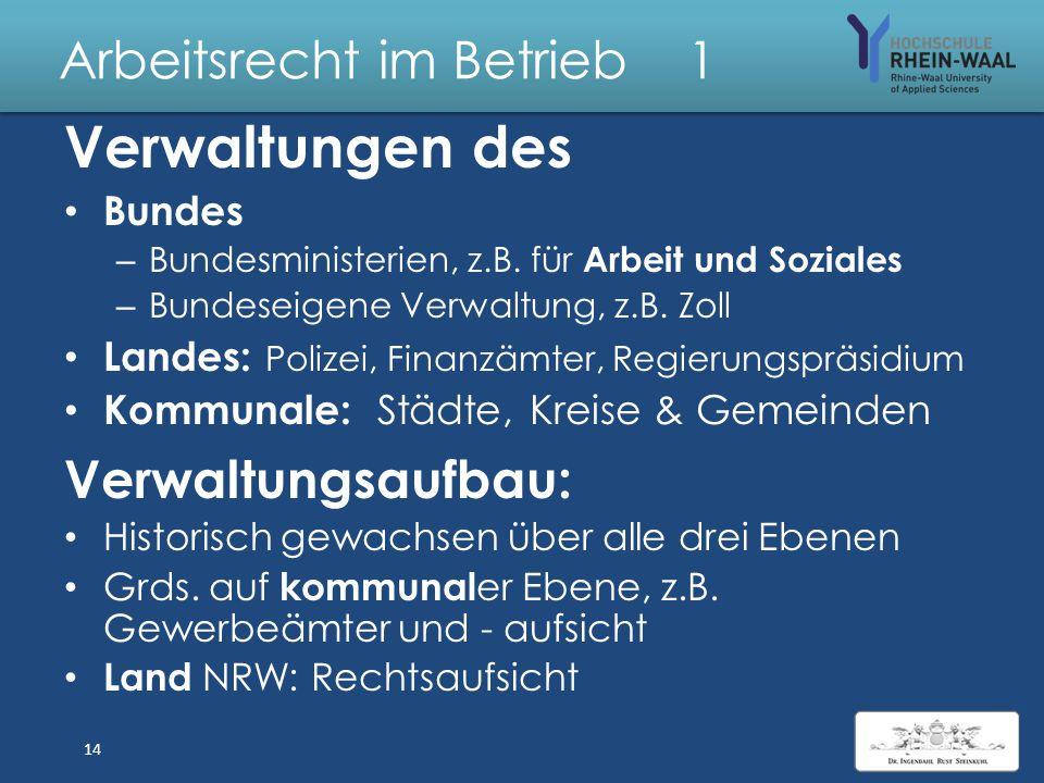 Arbeitsrecht im Betrieb 1 Öffentliches Recht StrafrechtStrafgesetzbuch Rechtsverhältnisse staatlicher Stellen zum untergeordneten Bürger – Öffentliche