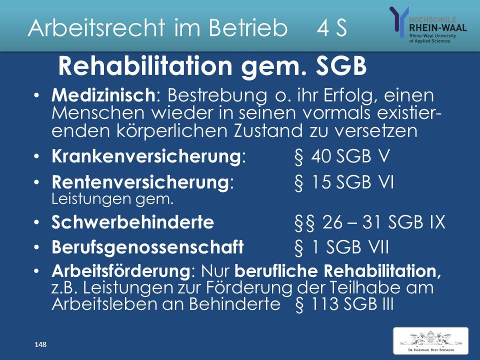 Arbeitsrecht im Betrieb 4 S Verfahren nach SGB IX Integrationsvereinbarung, § 83: Antrag: Schwerbehindertenvertretung o. Betriebsrat Inhalt: Regelunge