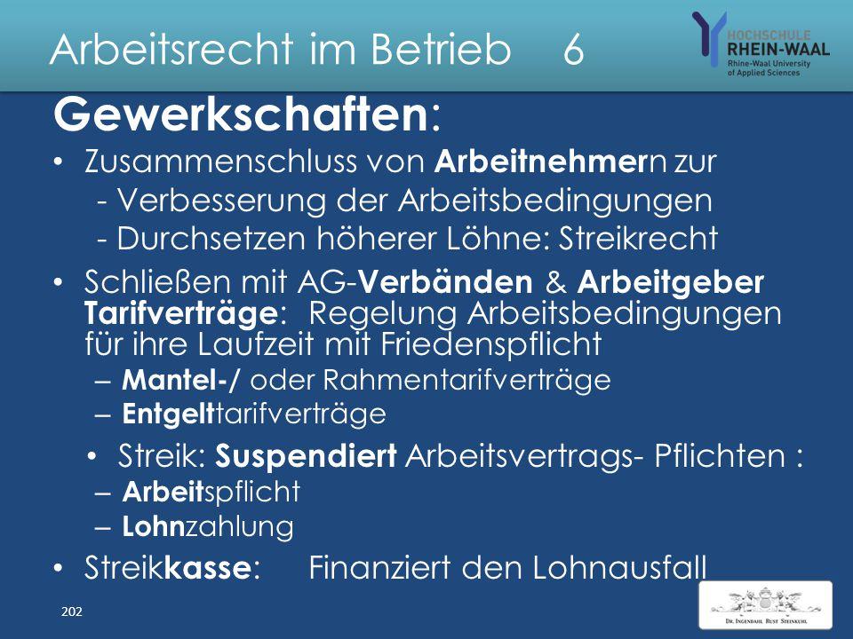 Arbeitsrecht im Betrieb 6 Deutscher Gewerkschaftsbund DGB Vereinigung von 8 Gewerkschaften: Gewerkschaft der Polizei GdP IG Metall (mit Holz Kunststof
