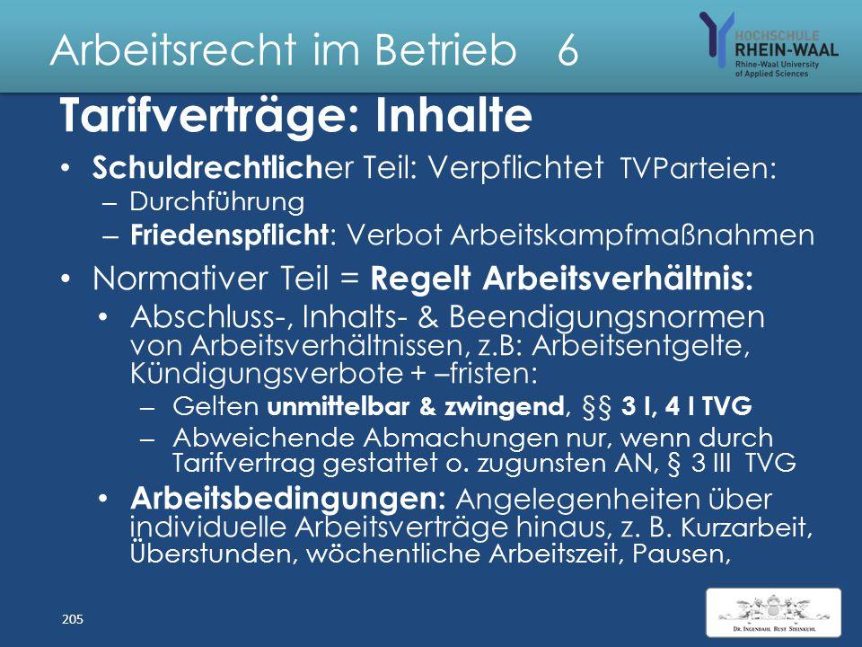 Arbeitsrecht im Betrieb 6 Tarifverträge: Abschluss : Einigung durch Angebot und Annahme – Rechtliche Grundlage: Koalitionsfreiheit, Art. 9 II – Gesetz