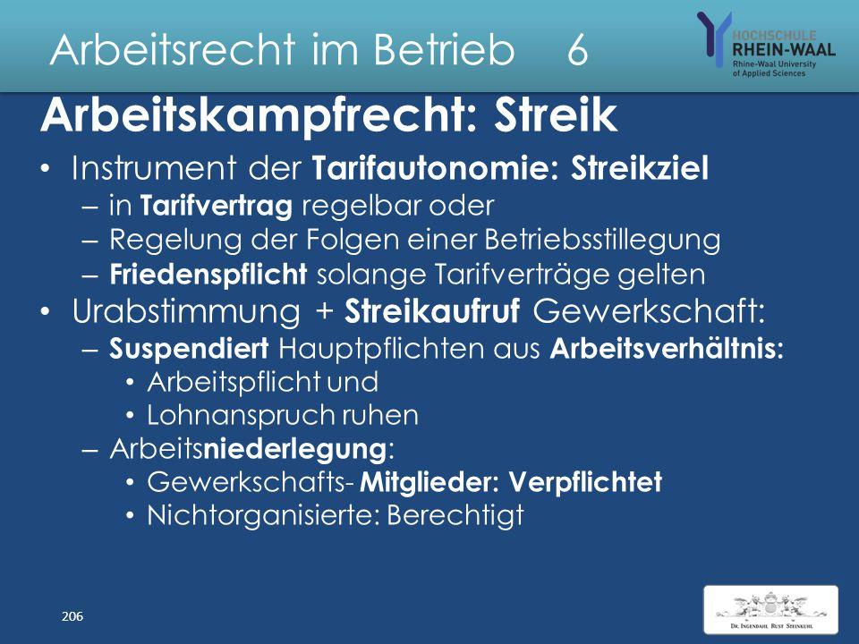 Arbeitsrecht im Betrieb 6 Tarifverträge: Inhalte Schuldrechtlich er Teil: Verpflichtet TVParteien: – Durchführung – Friedenspflicht : Verbot Arbeitska