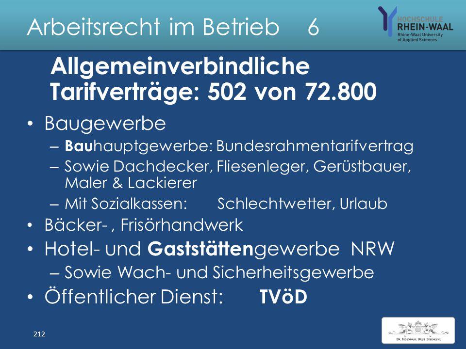 Arbeitsrecht im Betrieb 6 Allgemeinverbindlicherklärung Voraussetzungen, § 5 Abs. 1 TVG: – Rechtswirksamer Tarifvertrag – Gemeinsamer Antrag der Tarif