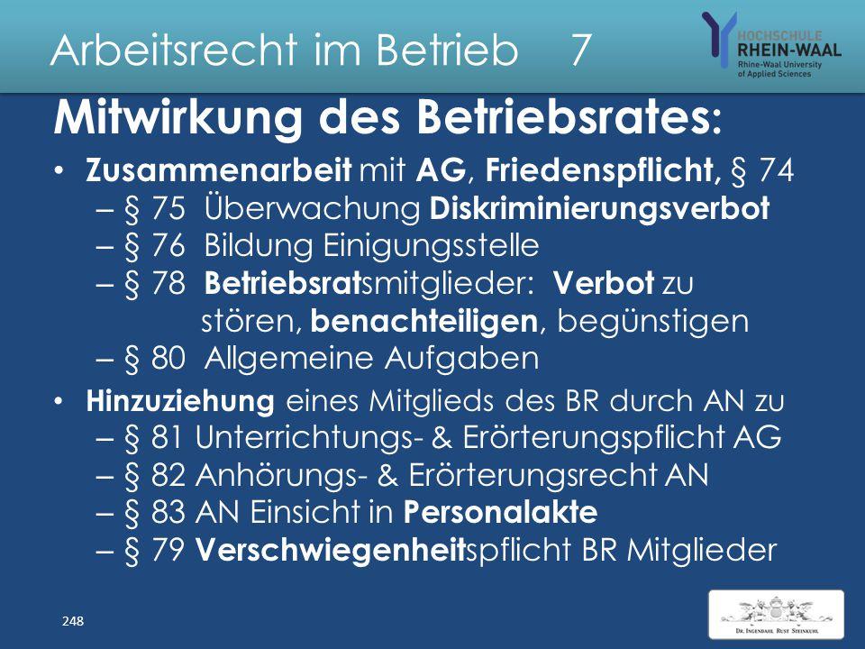 Arbeitsrecht im Betrieb 7 Betriebsverfassung BetrVG: Kosten der BR- Tätigkeit: Trägt AG, § 40 – Räume, Sachmittel, PC mit Internet, Schulungen – Kinde