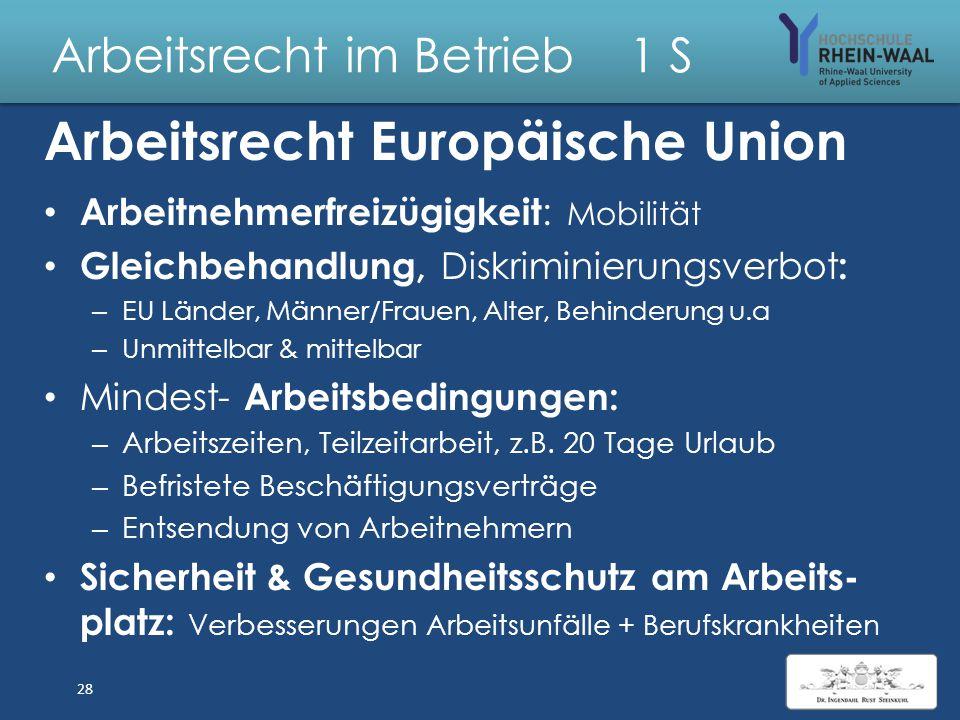 """Arbeitsrecht im Betrieb 1 S Europäische Gemeinschaft """"EU"""" Grundgesetz: Staatsziel, Art. 23: Vereinigtes Europa Hoheitsrechte, Art. 24: Auf zwischensta"""