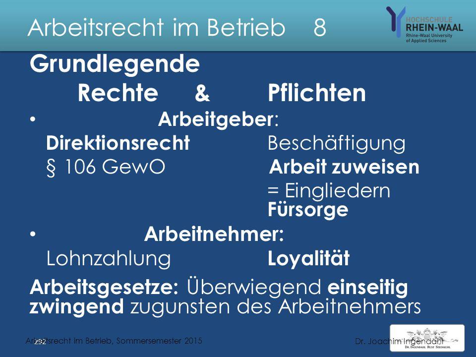Arbeitsrecht im Betrieb 8 Direktionsrecht & Arbeitsrechtliche Gesetze 291