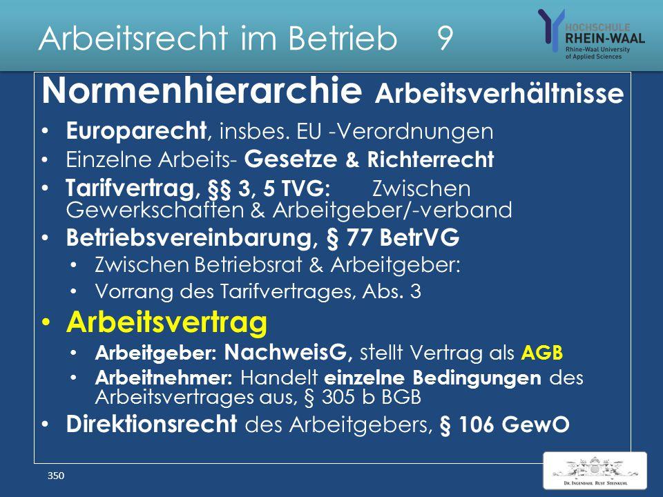 Arbeitsrecht im Betrieb 9 Gestaltung durch Arbeitsverträge 349