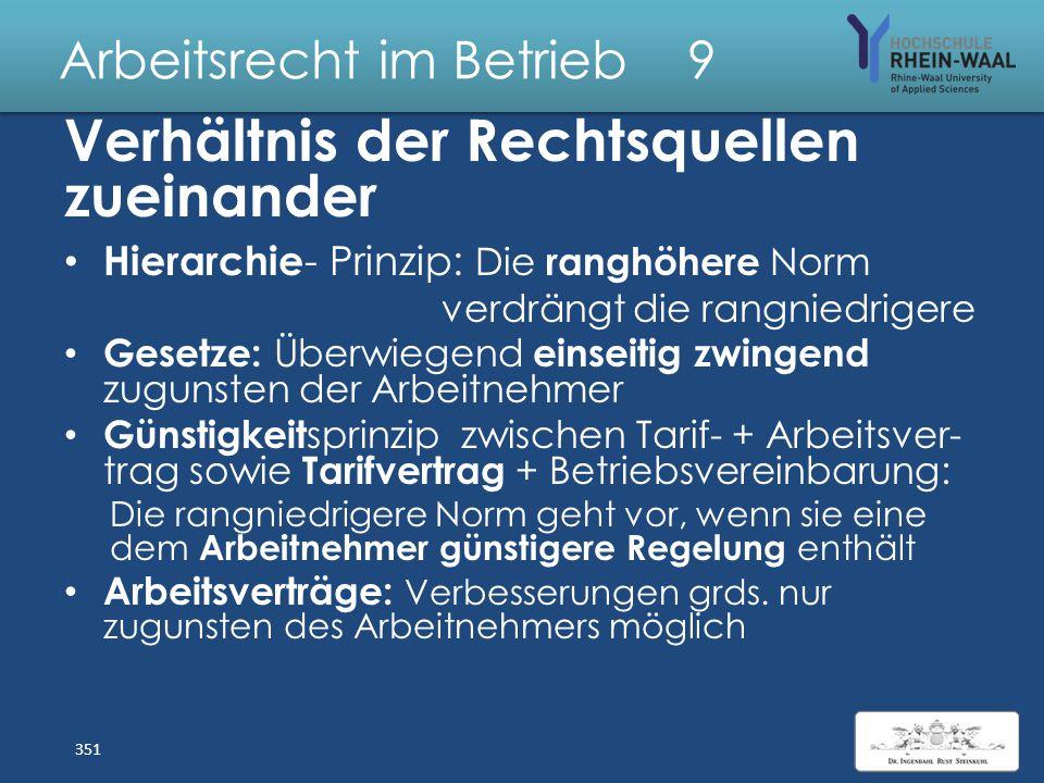Arbeitsrecht im Betrieb 9 Normenhierarchie Arbeitsverhältnisse Europarecht, insbes. EU -Verordnungen Einzelne Arbeits- Gesetze & Richterrecht Tarifver