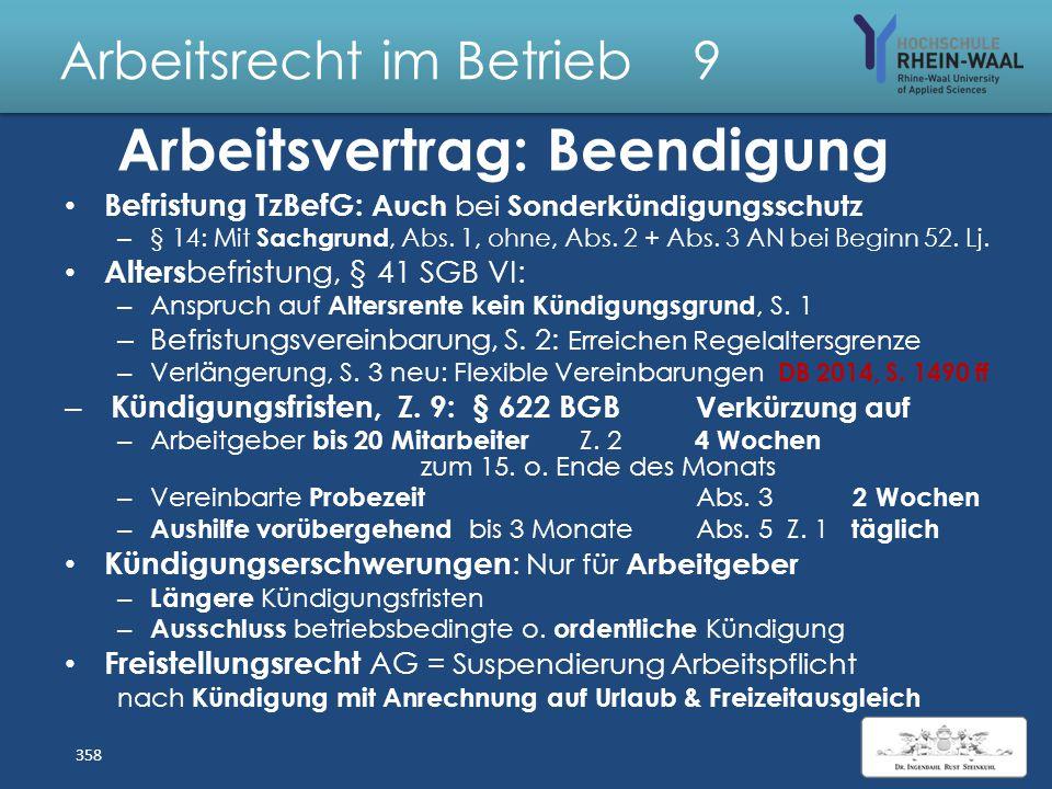 Arbeitsrecht im Betrieb 9 Gestaltungen Arbeitsvertrag: Private Nutzung des E-Mail- Accounts : Bei Untersagung AG- Zugriff auf private Mails zulässig S