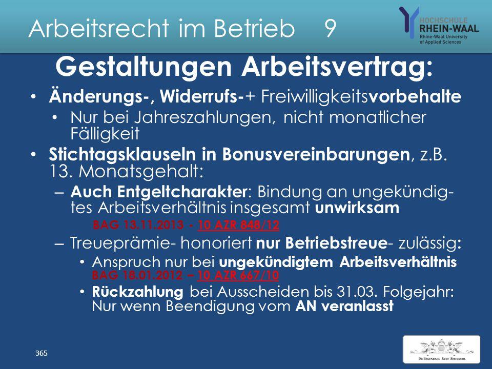 Arbeitsrecht im Betrieb 9 Nebenbeschäftigung Allgemeine Grenzen: Arbeitszeitrecht liche Höchstgrenze: Mehrere Arbeitgeber zusammenrechnen, § 2 I 1 Arb