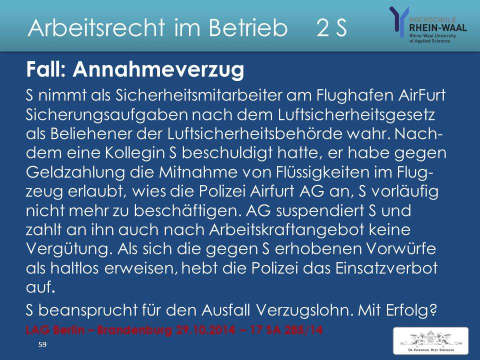 """Arbeitsrecht im Betrieb 2 S Fall: Anspruch auf Tantieme Herr J war bis zum 30.6.2011 für die Firma A als """"Leiter IT"""" tätig. Sein Arbeitsvertrag vom 22"""
