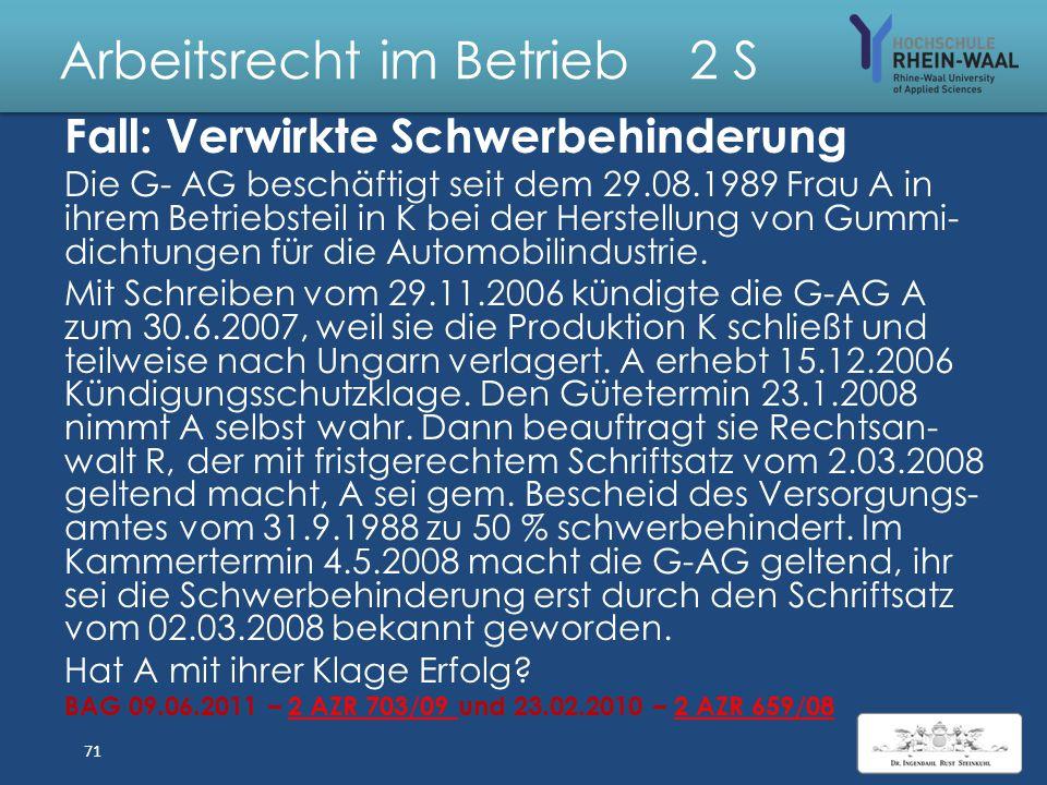 Arbeitsrecht im Betrieb 2 S Anfechtung: Eigenkündigung + Aufhebungsvertrag 1. § 119 Abs. 1 BGB: a) Erklärungs irrtum: Abgabe einer Erklärung b) Inhalt