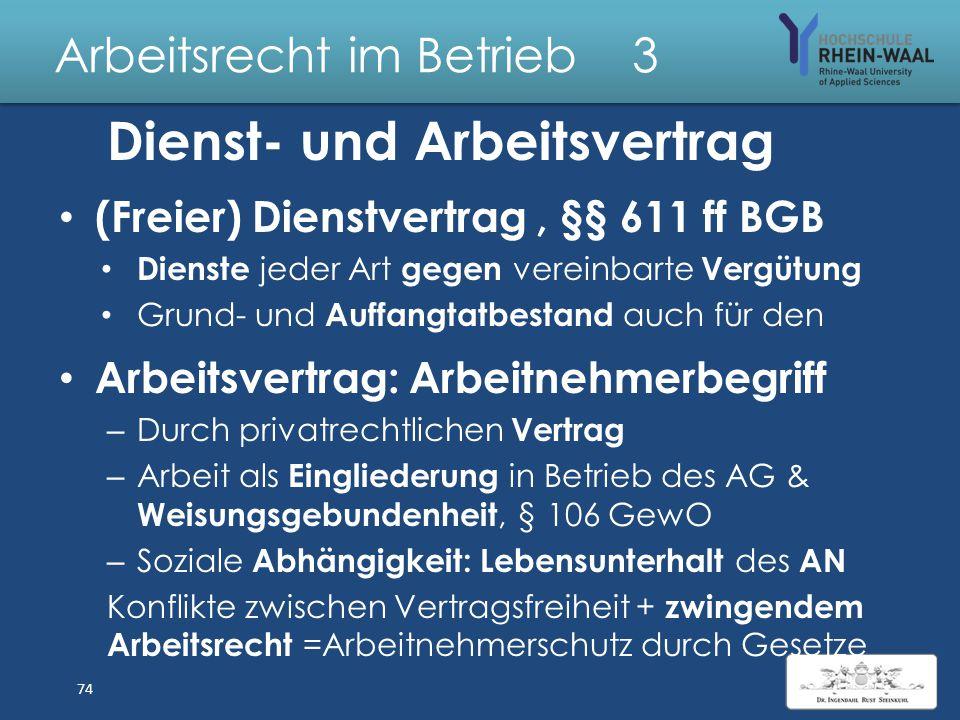 Arbeitsrecht im Betrieb 3 Dienstverträge & Arbeitsverhältnisse 73