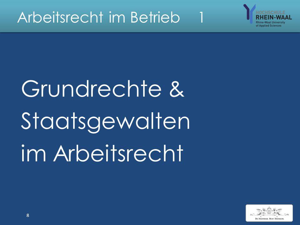 Arbeitsrecht im Betrieb 0 Vorlesung Thema 1. Grundrechte & Staatsgewalten im Arbeitsrecht 2. BGB Allg.T, Verträge, juristische Pers., absolute Rechte