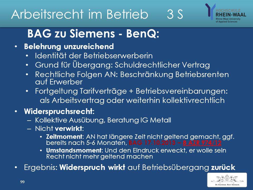 Arbeitsrecht im Betrieb 3 S Siemens § 433 BenQ Arbeitsvertrag Widerspruchsrecht Arbeitnehmer 98