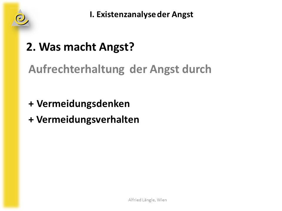 2. Was macht Angst? Aufrechterhaltung der Angst durch + Vermeidungsdenken + Vermeidungsverhalten Alfried Längle, Wien I. Existenzanalyse der Angst
