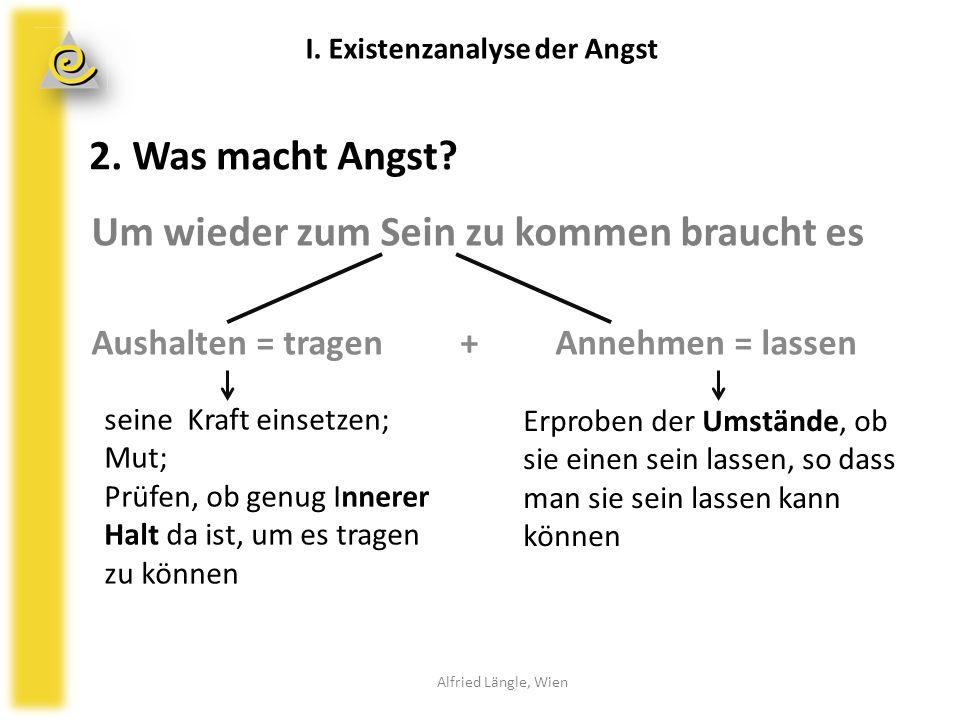 2. Was macht Angst? Alfried Längle, Wien I. Existenzanalyse der Angst Um wieder zum Sein zu kommen braucht es Aushalten = tragen + Annehmen = lassen s