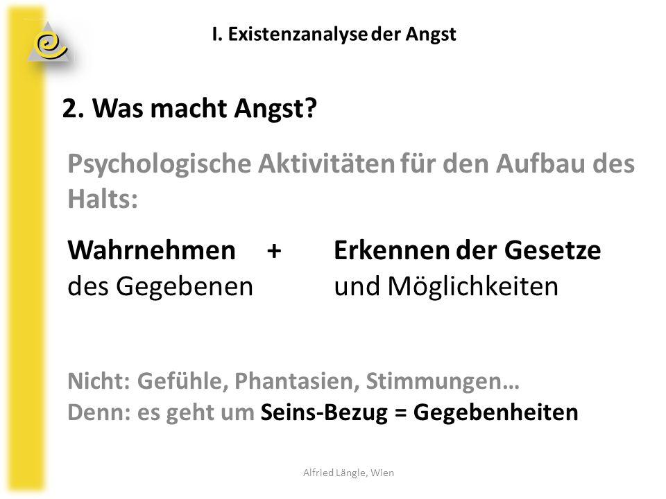 2. Was macht Angst? Alfried Längle, Wien I. Existenzanalyse der Angst Psychologische Aktivitäten für den Aufbau des Halts: Wahrnehmen +Erkennen der Ge