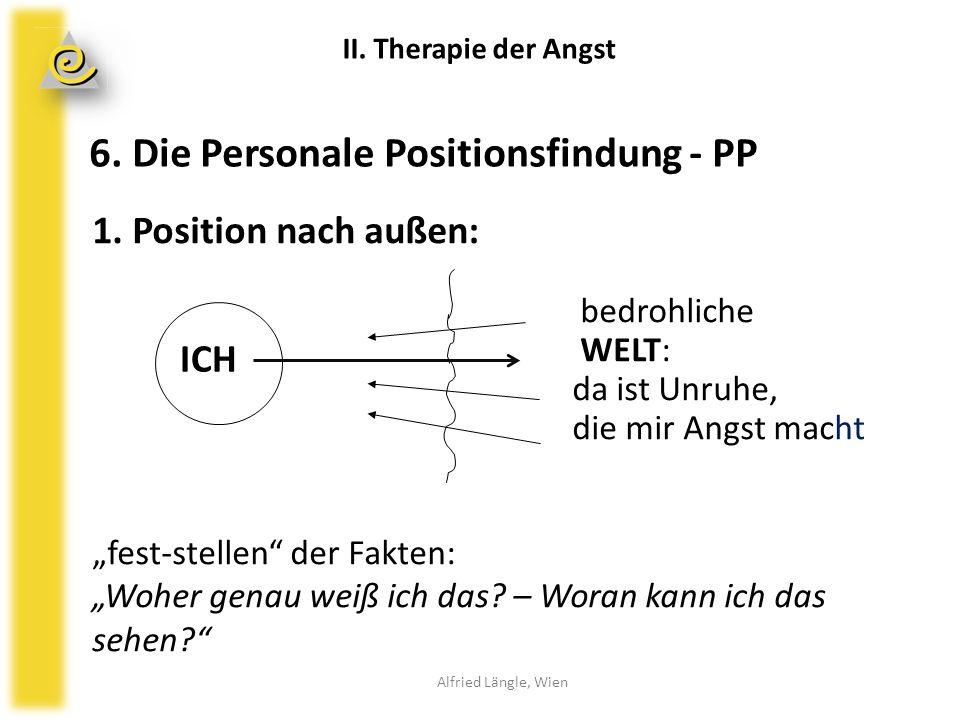"""6. Die Personale Positionsfindung - PP 1. Position nach außen: bedrohliche WELT: da ist Unruhe, die mir Angst macht """"fest-stellen"""" der Fakten: """"Woher"""