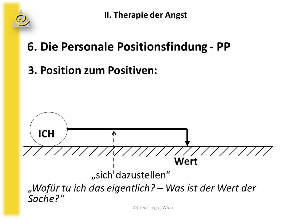 """3. Position zum Positiven: ICH Wert """"sich dazustellen"""" """"Wofür tu ich das eigentlich? – Was ist der Wert der Sache?"""" II. Therapie der Angst Alfried Län"""