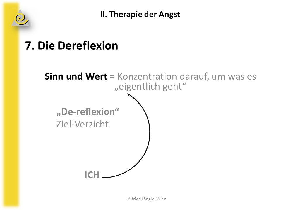 """7. Die Dereflexion Sinn und Wert = Konzentration darauf, um was es """"eigentlich geht"""" """"De-reflexion"""" Ziel-Verzicht ICH Alfried Längle, Wien II. Therapi"""
